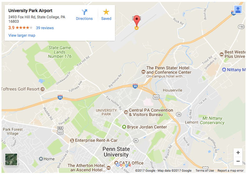 Get directions to the University Park Airport in State College PA ...